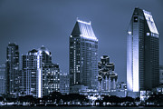 Condominiums Posters - Picture of San Diego Night Skyline Poster by Paul Velgos