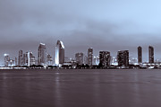 Dark Night Rises Posters - Picture of San Diego Skyline at Night Poster by Paul Velgos