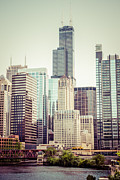 Urban Buildings Prints - Picture of Vintage Chicago with Sears Willis Tower Print by Paul Velgos