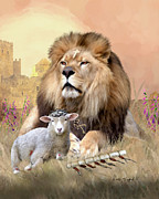 Christian Art Paintings - Pictures Of Jesus - Lion and the Lamb - Christian Religious Art Of Christ Paintings by Christian Artist Dale Kunkel