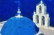 Dome Paintings - Picturesque church in Firostefani by George Atsametakis