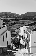 Typical Framed Prints - Picturesque Streets of Ronda. Spain. Black and White Framed Print by Jenny Rainbow