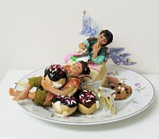 Humor Sculptures - Piece O Cake by Tamara Stickler