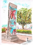 Berlin Paintings - Piece-of-Berlin-Wall-in-Ronald-Reagan-Library-Simi-Valley-CA by Carlos G Groppa