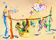Party Birthday Party Pastels Prints - PiEdi NuDi - Dibujo Zapatos Familia - Pencil Clothesline Print by Arte Venezia