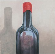 Red Wine Bottle Painting Posters - Pienza reflection Poster by Lincoln Seligman