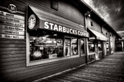 Italian Cafe Prints - Pier 55 Starbucks Print by Spencer McDonald