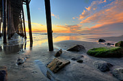 Oceanside Prints - Pier and Sunset Print by Peter Tellone