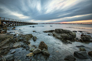 Maine Shore Framed Prints - Pier at Dusk Framed Print by Eric Gendron