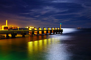 Green Boat Photos - Pier at Night by Carlos Caetano