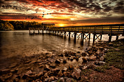 Pier At Smith Mountain Lake Print by Joshua Minso