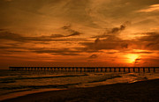 Landscape At Sunset Framed Prints - Pier at Sunset Framed Print by Sandy Keeton