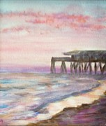 Panama City Beach Painting Framed Prints - Pier at Sunset Framed Print by Susan Hart