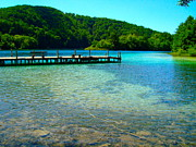 Paradise Pier Attraction Prints - Pier at the Plitvice Lakes Print by Ewerton Watanabe