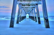 Tybee Island Pier Photos - Pier Blue by Sonja Dover