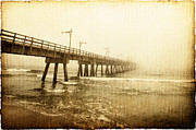 Worn In Metal Prints - Pier In A Storm Metal Print by Skip Nall