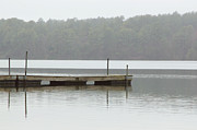 Pond Lake Photos - Pier in mist by Kitty Ellis