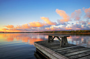 Country Cottage Photos - Pier in the Morning by Charline Xia