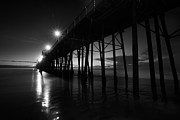 California Landscape Prints - Pier Lights - Black and White Print by Peter Tellone