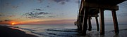 Beach Fence Digital Art Posters - Pier Panorama at Sunrise  Poster by Michael Thomas