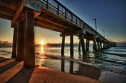 Beach Fence Digital Art Posters - Pier Sunrise Poster by Michael Thomas