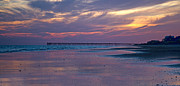 Topsail Island Posters - Pier Sunset Poster by Betsy A Cutler East Coast Barrier Islands