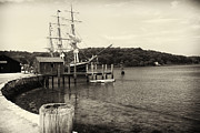 Photogrpah Posters - Pier with a Tall Ship Poster by George Oze
