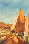 Moab Painting Prints - Piercing Rock Print by Jeff Mathison