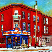 Hockey Paintings - Pierrette Patates 3900 Verdun Restaurant Montreal Streets And Shops City Of Verdun Art Work Scenes by Carole Spandau