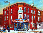 Montreal Winter Scenes Prints - Pierrette Patates Restaurant - Paintings Of Verdun - Verdun Winter Scenes -verdun Hockey Scenes Print by Carole Spandau