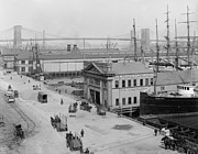 Brooklyn Bridge Prints - Piers along South Street 1900 Print by Stefan Kuhn