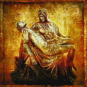 Jesus Digital Art Prints - Pieta 2 Print by Lianne Schneider