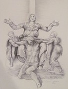 Michelangelo Drawings Prints - Pieta Study Print by Tonya Butcher