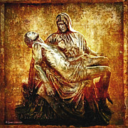 Statues Digital Art Prints - Pieta Via Dolorosa 13 Print by Lianne Schneider