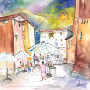 Town Square Drawings Prints - Pietrasanta in Italy 03 Print by Miki De Goodaboom