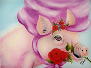 Porcine Animal Framed Prints - Pig in Purple Framed Print by Joni McPherson