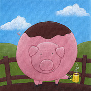 Kitchen Decor Framed Prints - Pig Nursery Art Framed Print by Christy Beckwith