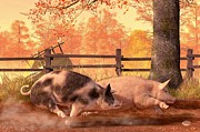 Pig Digital Art Posters - Pig Race Poster by Daniel Eskridge