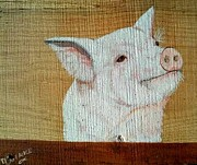 Pig Framed Prints - Pig Smile Framed Print by Debbie LaFrance