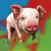 Pet Pig Prints - Pig stylised pop modern art drawing sketch portrait Print by Kim Wang
