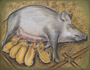 Pig Pastels Framed Prints - Pig The Mummy Framed Print by Irisha Golovnina