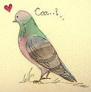 Love Tapestries - Textiles Posters - Pigeon fancier Poster by Hazel Millington
