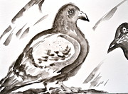 Project Painting Prints - Pigeon II Sumi-e Style Print by Beverley Harper Tinsley