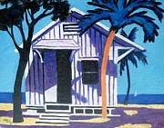 Beach Hut Paintings - Pigeon Key Florida by Lesley Giles