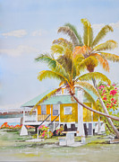 Waterscape Painting Metal Prints - Pigeon Key - Home Metal Print by Terry Arroyo Mulrooney
