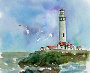 Red Point Paintings - Pigeon Point Lighthouse by Diane Thornton