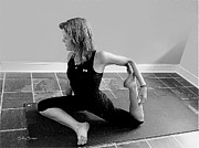 Yoga Images Prints - Pigeon Pose In Black and White Print by Sally Simon