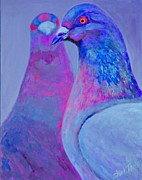 Shimmer Prints - Pigeons Iridescent Print Print by Shirl Theis