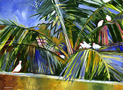 Coconut Trees Paintings - Pigeons on P4 by Douglas Simonson
