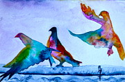 Project Painting Prints - Pigeons Pigeons Pop Print by Beverley Harper Tinsley